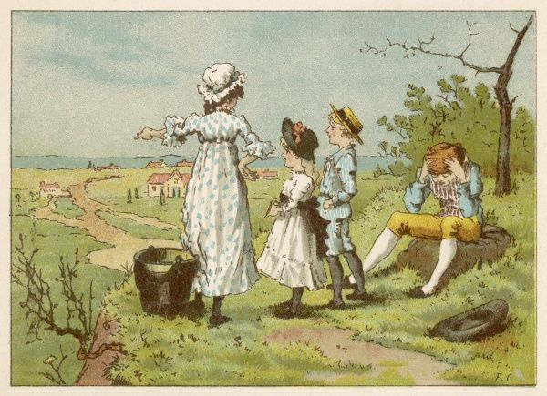 Jill shows Margery and Freddy the view from the top of the hill, while Jack sits and nurses his sore head