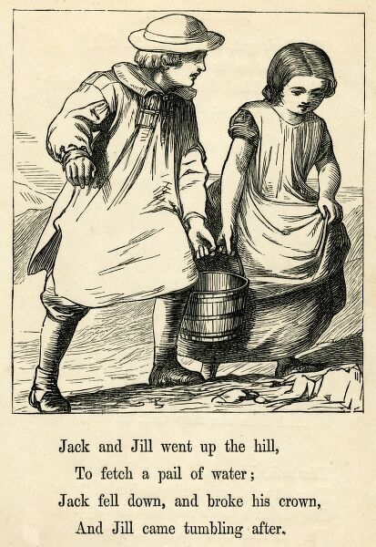 Jack and Jill went up the hill, to fetch a pail of water; Jack fell down, broke his crown, and Jill came tumbling after. Date: circa 1874