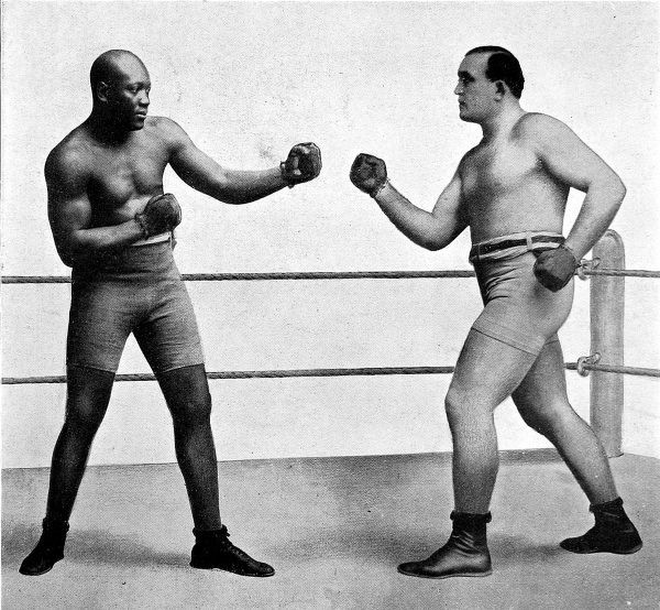 Photographic montage showing Jack Johnson (1878-1946)(left) and James J. Jeffries (1875-1953), the heavyweight boxers who fought for the World Championship in 1910. Johnson knocked out Jeffries in the 15th round of their meeting at Reno, Nevada