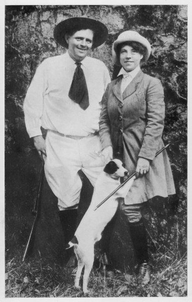 JACK LONDON with his second wife CHARMIAN photo taken six days before his death