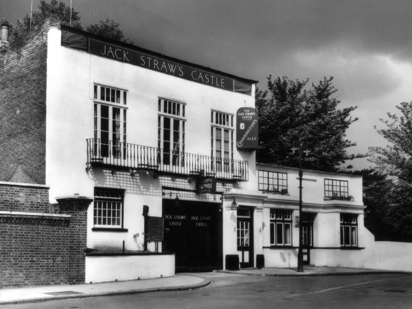 This famous public house on the edge of Hampstead Heath, north London, is named after a ringleader in the Peasant's Revolt of 1381. Destroyed in World War Two, rebuilt 1960s. Date: 1930s
