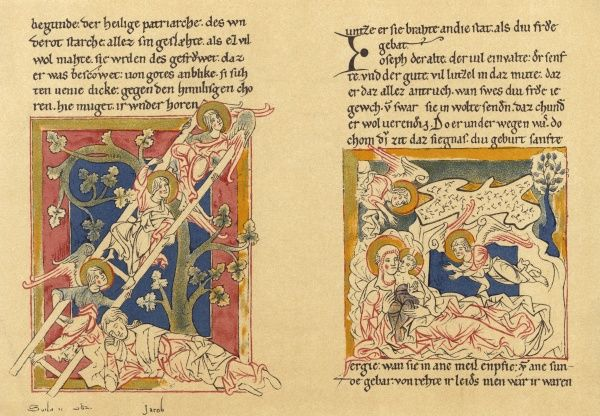 Two illustrations depicting Jacob's dream and his subsequent ladder. Date