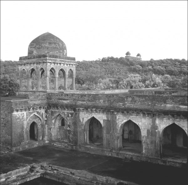 The Jahaz Mahal (Ship Palace) at Mandu, Madhya Pradesh Province, Central India. It was built in the 15th century by Mohammed Shah (or his son) to house a harem of 15,000 women. Photograph by Ralph Ponsonby Watts