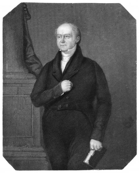 JAMES HARRINGTON EVANS Churchman, baptist minister, clutching his Bible. Date: 1785 - 1849