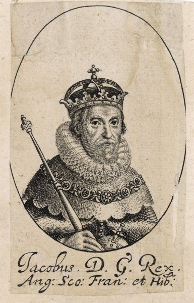 JAMES I King of England (1603 - 1625) Portrait with crown & sceptre