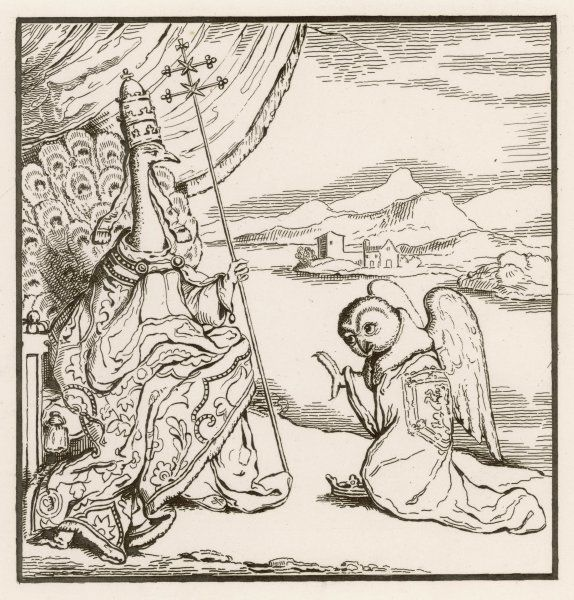 JAMES II OF SCOTLAND caricatured as an owl, kneeling to the Pope who is depicted as a peacock