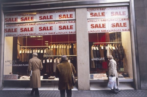 Rows and rows of suits for sale at 'ridiculous prices' during the annual January Sales in central London! Date: 1980