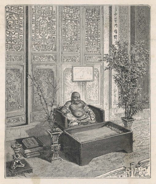 A Japanese domestic altar featuring a statue of the smiling Buddha, known as 'Hotei&#39