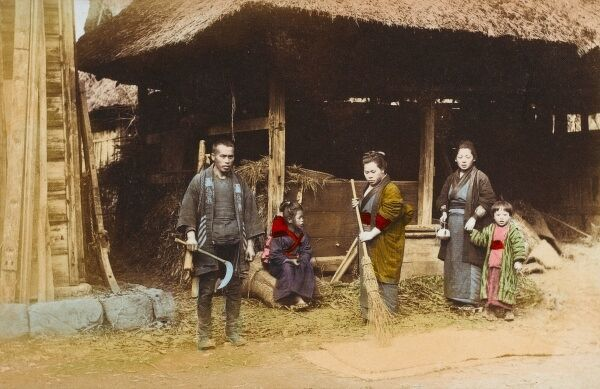 Japanese Farming Family and their barn