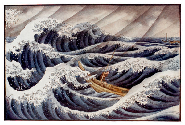 A Japanese boatman in a stormy sea