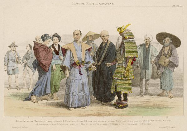 'Officer of the Taikoon in civil costume - mendicant bonze - superior bonze - military - women - soldier - man of the lower classes - fish market coolie - pilgrim&#39
