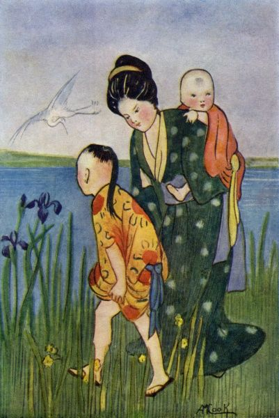 Japanese woman with children Date: circa 1906