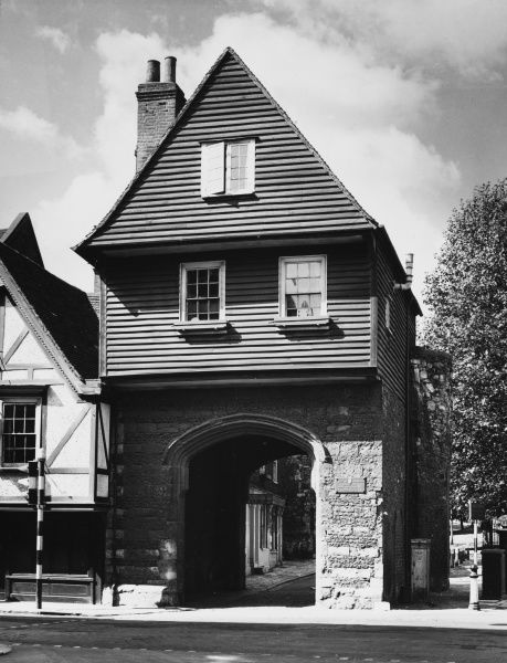 "The quaint College Gateway at Rochester, Kent, made famous by Charles Dickens in his last novel ""Edwin Drood"" and it is still popularly known as ""Jasper's Gateway&quot"