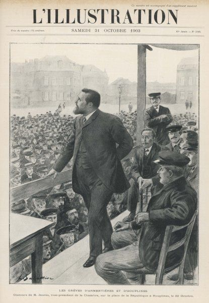 Jean Jaures, vice president of the Chamber of Deputies, adresses a crowd of weavers on strike at Houplines (North of France)