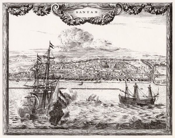 Banten (formerly Bantam): general view from the sea, with ships in the foreground