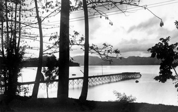 A tranquil coastal sunset scene, Java, Indonesia. Date: 1930s