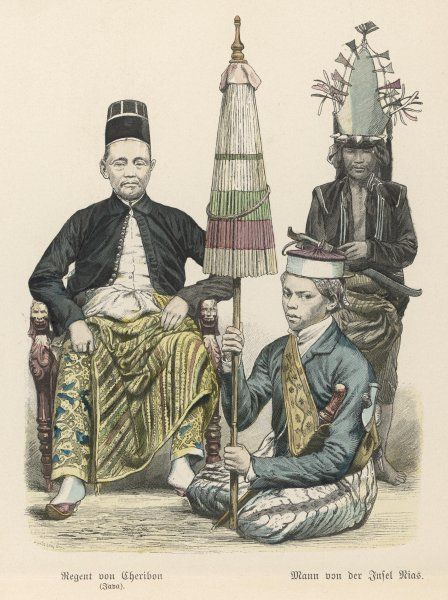 Three Indonesian men: a Javanese ruler, his servant with a closed parasol, and an islander