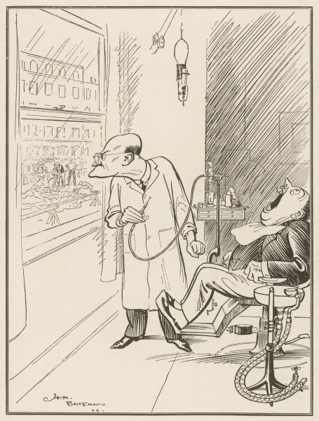 A dental patient sits prone in a the dentist's chair with his mouth wide open while his dentist is momentarily distracted by the sight of workmen with much bigger drills across the road