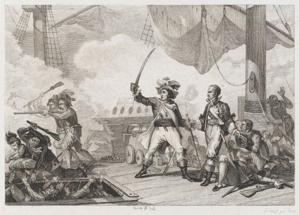 The French admiral Jean Bart, threatened by a superior Dutch fleet, cries 'Comrades, no more cannon-shots, use your sabres !' and wins the day with hand-to-hand fighting