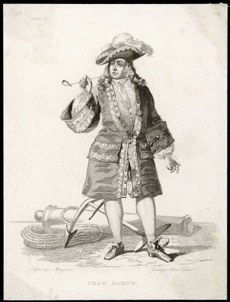 JEAN BART French naval, smoking a clay pipe