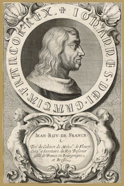 JEAN II LE BON king of France, captured at Poitiers and held for ransom in the Tower of London where he died