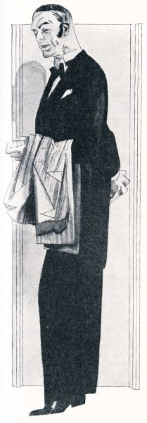 Jeeves, the fictional manservant to Bertie Wooster, as depicted in an illustration for 'Thank You Jeeves!'. Date: First published: 1933