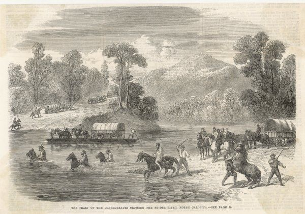 Jefferson Davis and his staff are ferried across the Pe-Dee river, North Carolina, after the fall of the Southern Confederacy. Others have to swim their horses across