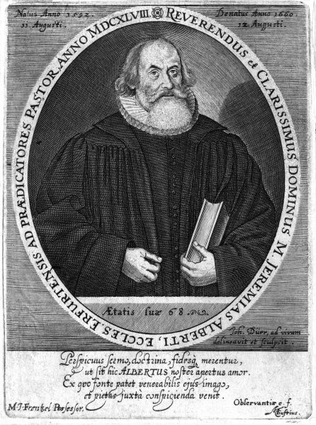 JEREMIAS ALBERT German churchman, portrayed at the age of 68, holding a book. Date: 1592 - 1660
