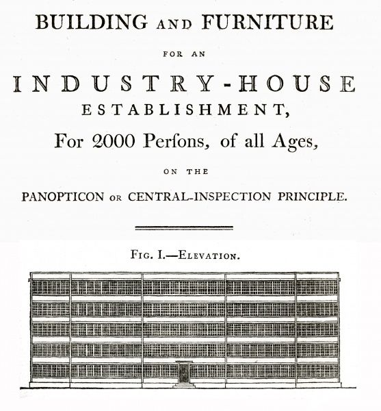 The elevation view of Jeremy Bentham's scheme for a 'panopticon' workhouse to hold up to 2000 inmates. The design, published in Bentham's 1812 work 'Pauper Management Improved', was originally devised for housing prisoners