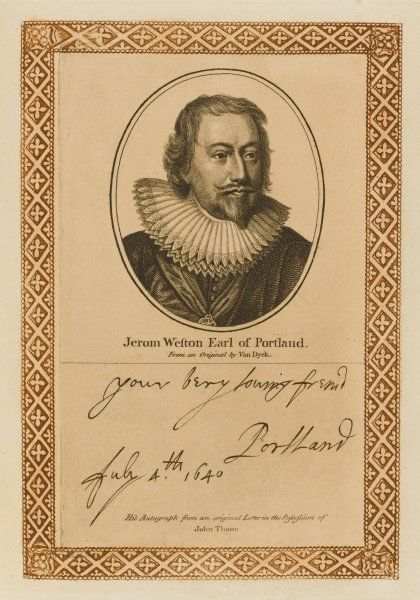 JEROME WESTON second earl of PORTLAND statesman, with an interest in naval affairs with his autograph