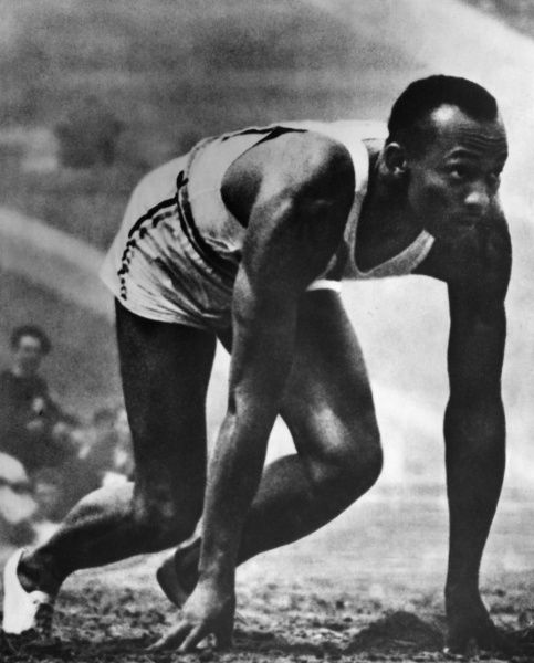 James Cleveland Jesse Owens American athlete, four times champion, seen here taking part in the Olympic Games in Berlin, Germany, pictured in starting pose