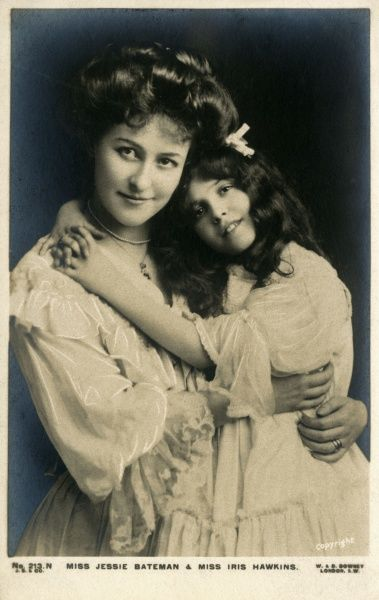 JESSIE BATEMAN Popular actress, with Iris Hawkins - who I can't trace : she may be a child actress, or perhaps Jessie's daughter ? Or both ? Date: 1877 - 1940