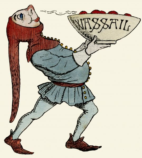 A jester in red and blue costume, carrying a wassail bowl and enjoying the aroma coming from it. Wassail was a medieval drink, a kind of punch made from hot mulled cider, traditionally drunk at Christmas. Date
