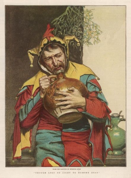 A solitary jester drinks underneath the mistletoe
