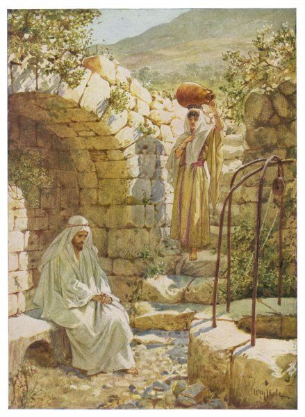 Jesus at Jacob's Well with the woman of Samaria