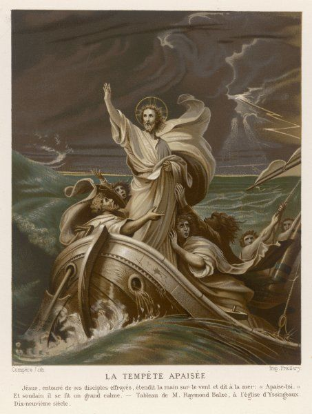 He calms a storm on the Sea of Galilee