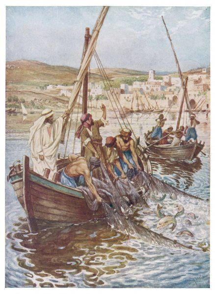 Jesus conjures up a huge catch of fish in Peter's boat