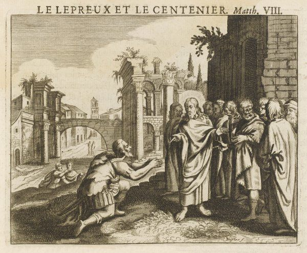 At Capernaum, a centurion begs him to cure his sick servant ; touched by the soldier's faith, he does so