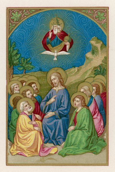He instructs his disciples, watched by his father and the Holy Spirit - a scene which emphasises Jesus as the 'human' element of the Holy Trinity