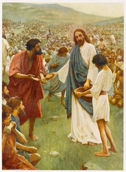 When a crowd of five thousand, who have gathered to hear him, grow hungry, Jesus provides them with food - five barley loaves and two fishes suffice for all