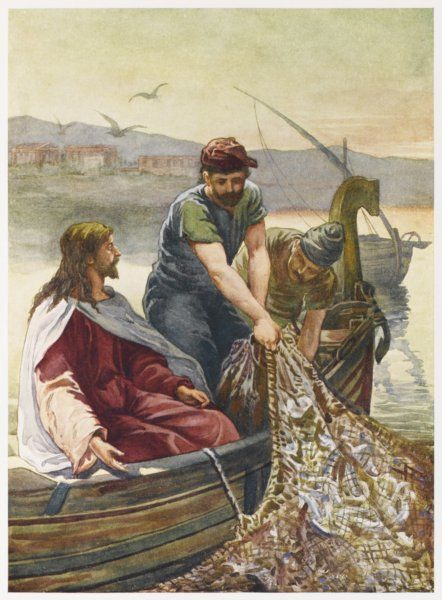 Jesus enables his disciples to obtain a miraculous draught of fishes in the sea of Galilee
