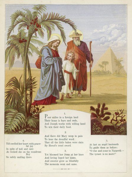 Mary, Joseph and the boy Jesus in Egypt