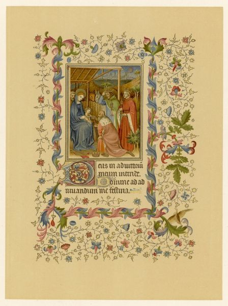 The Magi with Mary and Jesus - page from a French 'Hours of the Virgin&#39