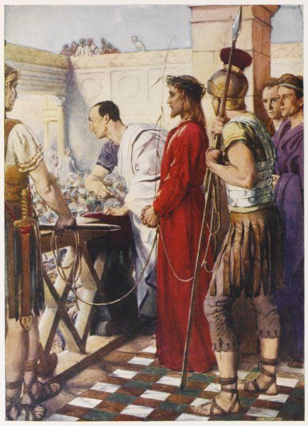 Jesus is brought before Pilate, the Roman governor