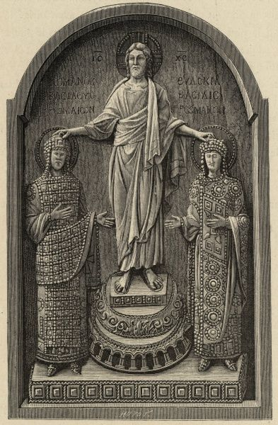 All power comes from Jesus, but he passes it on to rulers he approves of, such as the Byzantine emperor Romanus IV Diogenes and his wife Eudoxia
