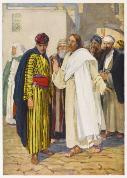 Asked by the Ruler of the Synagogue what he should do, Jesus advises him to sell all his possessions and follow him. But the man is not prepared to do so much