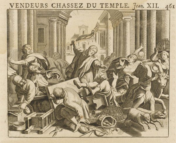 He expels the money-changers from the Temple precincts