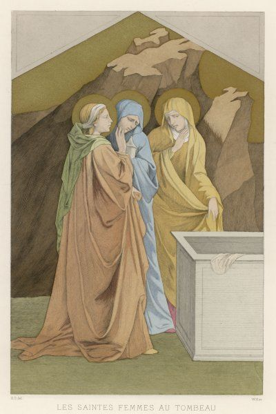 Mary Magdalen, Mary the mother of James, and Salome come with spices to anoint Jesus's body, but find his tomb empty : a moment later, an angel will tell them that Jesus is risen