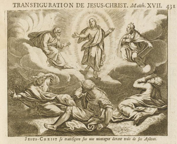 He is transfigured, to the amazement of his companions