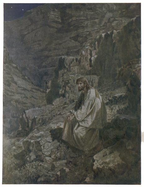 Jesus spends forty days in the wilderness, contemplating his mission